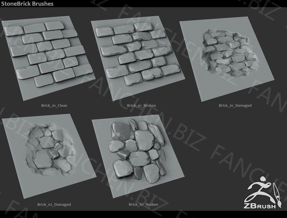 ZBursh笔刷 岩石墙壁毛刷笔刷套装18组 189.8M-FANCHENBIZ