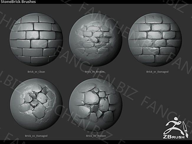 ZBursh笔刷 岩石墙壁毛刷笔刷套装18组 189.8M