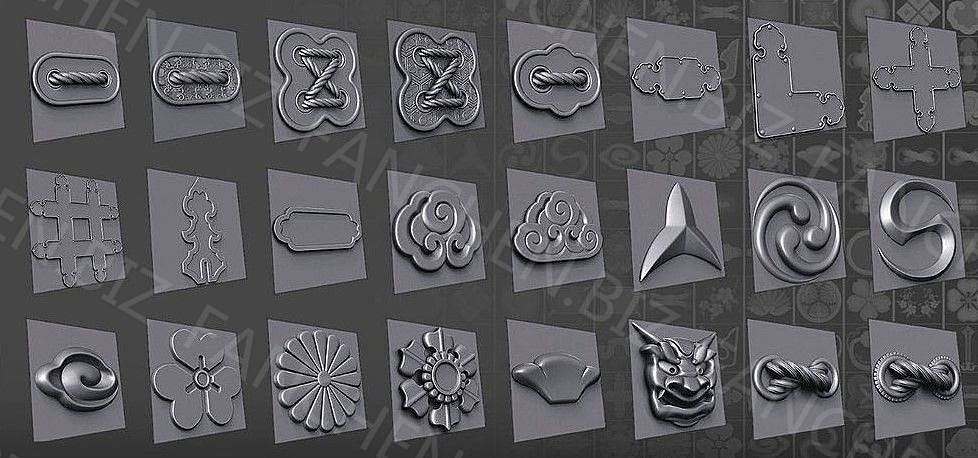 Zbrush笔刷 日本装饰风格画笔套装70组 601.3M